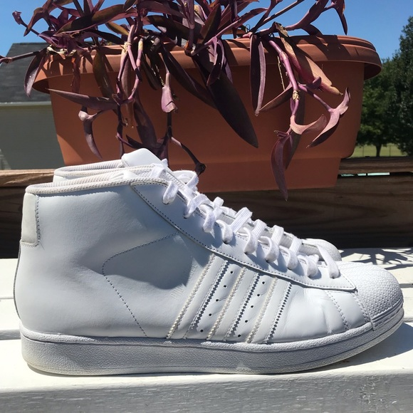check-out b78fe c8bc1 Adidas Originals PRO MODEL White High Top Sneakers
